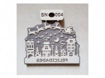 SELLOS SN004/FELICIDADES TRINEO 8x11cm